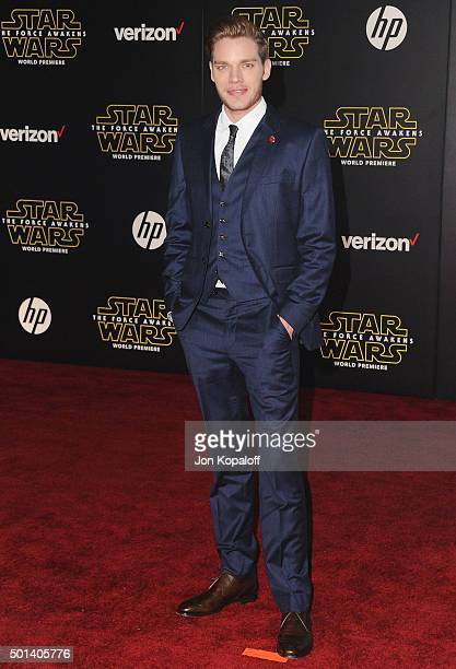 Actor Dominic Sherwood arrives at the Los Angeles Premiere Star Wars The Force Awakens on December 14 2015 in Hollywood California