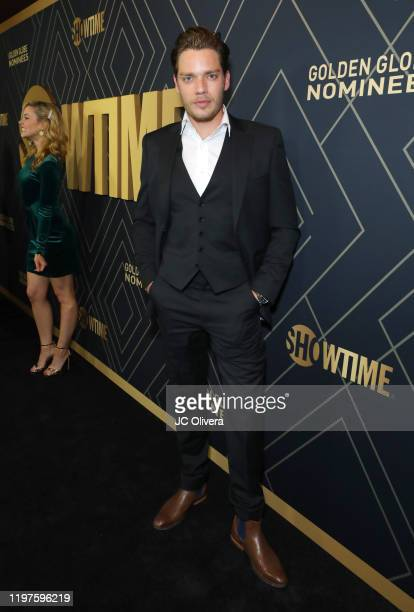 Actor Dominic Sherwood attends Showtime's Golden Globe Nominees Celebration at Sunset Tower Hotel on January 04 2020 in West Hollywood California