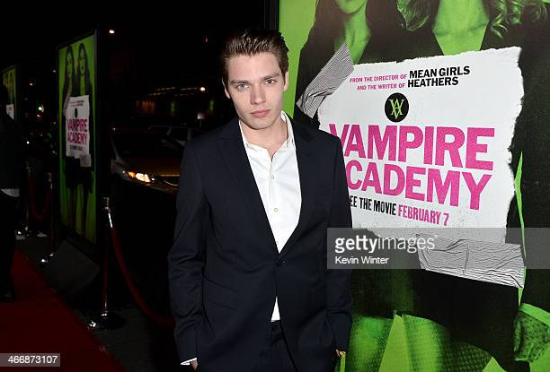 Actor Dominic Sherwood attends the premiere of The Weinstein Company's 'Vampire Academy' at Regal Cinemas LA Live on February 4 2014 in Los Angeles...