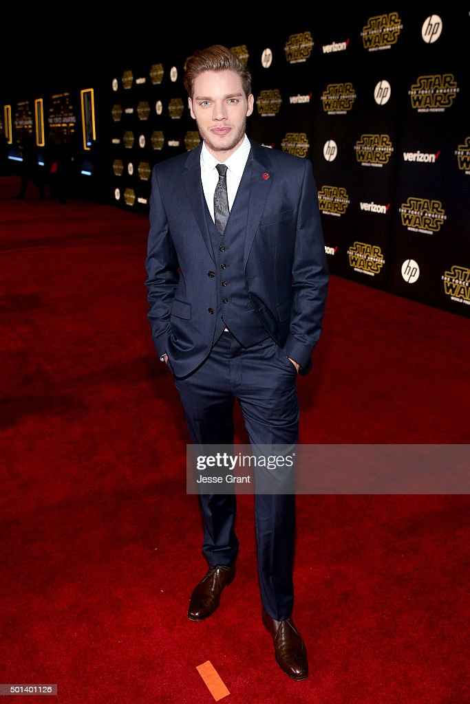 """Actor Dominic Sherwood attends the World Premiere of """"Star Wars: The Force Awakens"""" at the Dolby, El Capitan, and TCL Theatres on December 14, 2015 in Hollywood, California."""