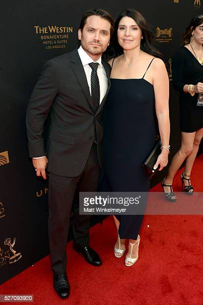 Actor Dominic Zamprogna and wife Linda Leslie walk the red carpet at the 43rd Annual Daytime Emmy Awards at the Westin Bonaventure Hotel on May 1...