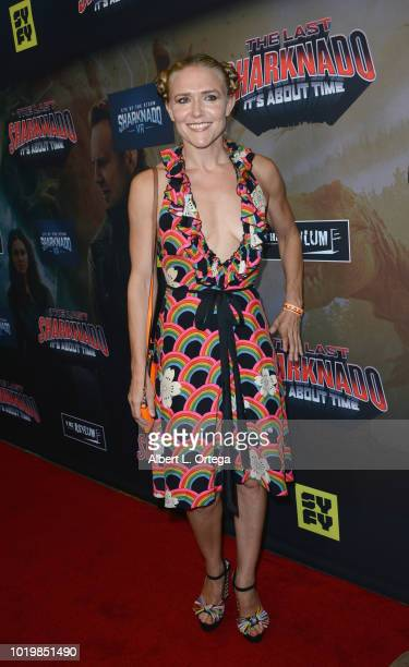 Actor Dominique Swain arrives for the Premiere Of The Asylum And Syfy's 'The Last Sharknado It's About Time' held at Cinemark Playa Vista on August...