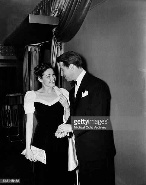 Actor Don Ameche and unidentified woman attend an event in Los AngelesCA