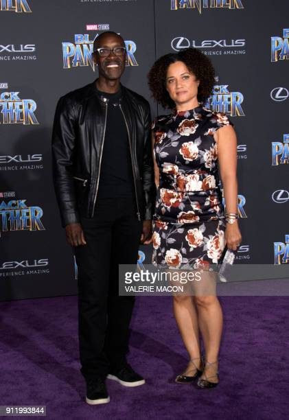 Actor Don Cheadle and actress Bridgid Coulter attend the world premiere of Marvel Studios Black Panther on January 29 in Hollywood California / AFP...