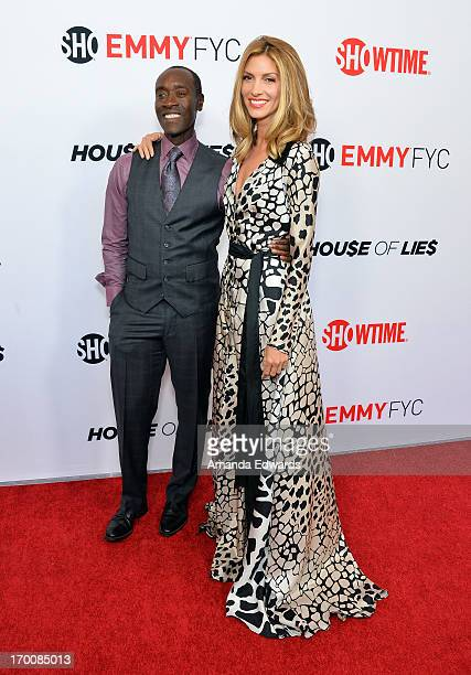 Actor Don Cheadle and actress Dawn Olivieri arrive at a special Los Angeles screening of Hou$e Of Lie$ at Leonard H Goldenson Theatre on June 6 2013...