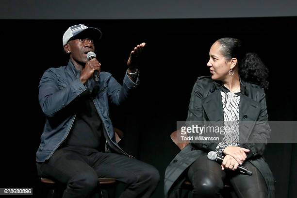 Actor Don Cheadle and director Gina PrinceBythewood speak onstage during the New York Times Magazine's Great Performers 2016 at NeueHouse Los Angeles...