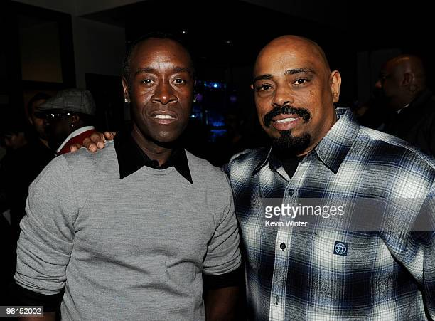 Actor Don Cheadle and rapper Sen Dog pose backstage at Help Haiti with George Lopez Friends at LA Live's Nokia Theater on February 4 2010 in Los...