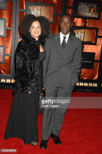Actor Don Cheadle and wife arrive at the 13th Annual Critics' Choice Awards held at the Santa Monica Civic Auditorium