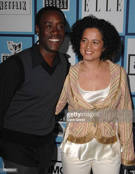 Actor Don Cheadle and wife Bridgid Coulter arrive at the 2008 Film Independent's Spirit Awards at the Santa Monica Pier on February 23 2008 in Santa...