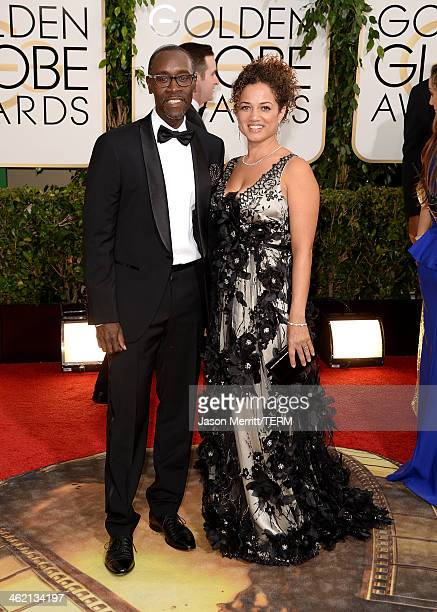 Actor Don Cheadle and wife Bridgid Coulter attend the 71st Annual Golden Globe Awards held at The Beverly Hilton Hotel on January 12 2014 in Beverly...