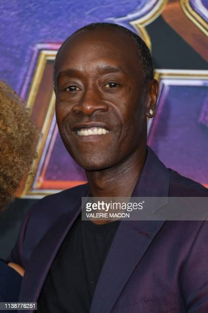 US actor Don Cheadle and wife US actress Bridgid Coulter arrive for the World premiere of Marvel Studios' Avengers Endgame at the Los Angeles...