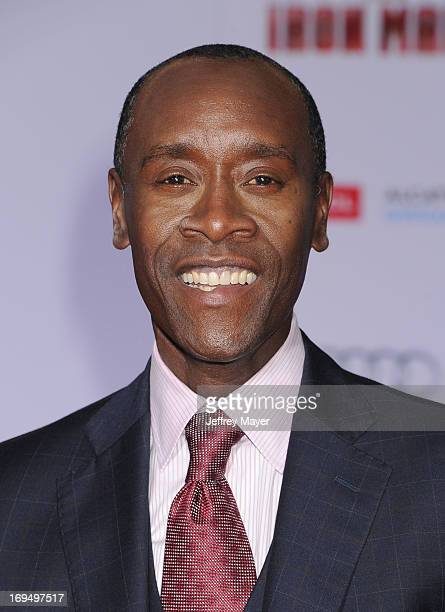 Actor Don Cheadle arrives at the Los Angeles Premiere of 'Iron Man 3' at the El Capitan Theatre on April 24 2013 in Hollywood California