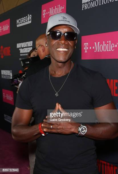 Actor Don Cheadle arrives on TMobile's magenta carpet duirng the Showtime WME IME and Mayweather Promotions VIP PreFight Party for Mayweather vs...