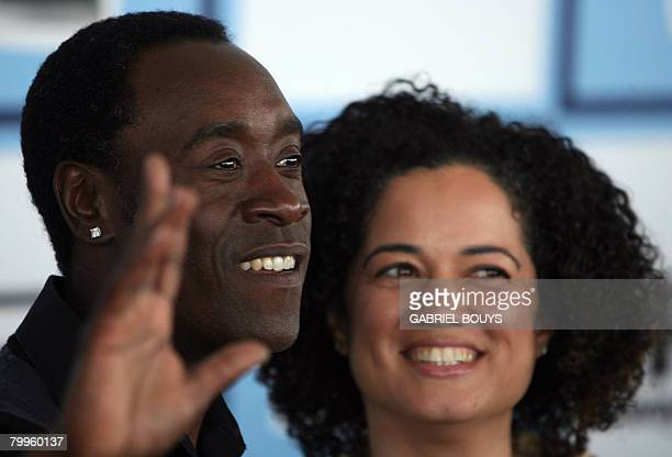 Actor Don Cheadle arrives with his wife Bridgid Coulter at the 2008 Spirit Awards in Santa Monica California on February 23 2008 The awards are given...