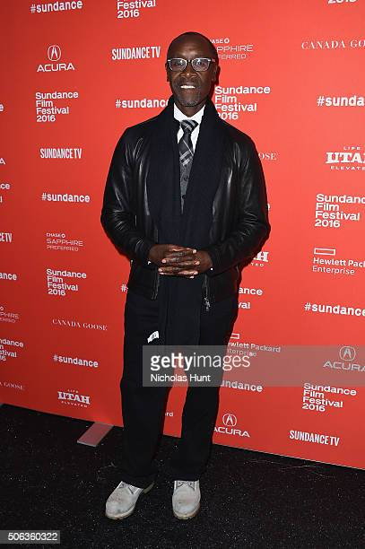 Actor Don Cheadle attends the 'Miles Ahead' Premiere during the 2016 Sundance Film Festival at The Marc Theatre on January 22 2016 in Park City Utah
