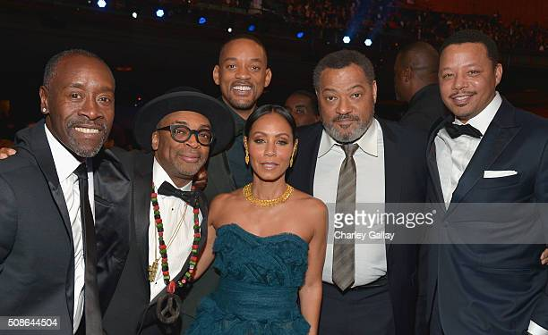 Actor Don Cheadle director Spike Lee actors Will Smith Jada Pinkett Smith Laurence Fishburne and Terrence Howard attend the 47th NAACP Image Awards...