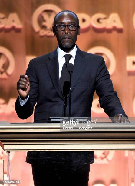 Actor Don Cheadle onstage at the 66th Annual Directors Guild Of America Awards held at the Hyatt Regency Century Plaza on January 25 2014 in Century...