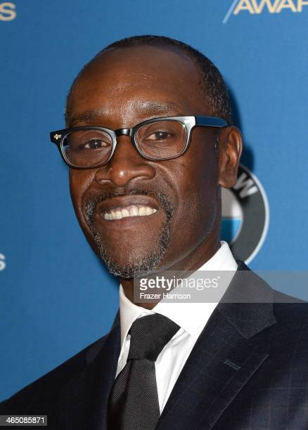 Actor Don Cheadle poses in the press room during the 66th Annual Directors Guild Of America Awards held at the Hyatt Regency Century Plaza on January...