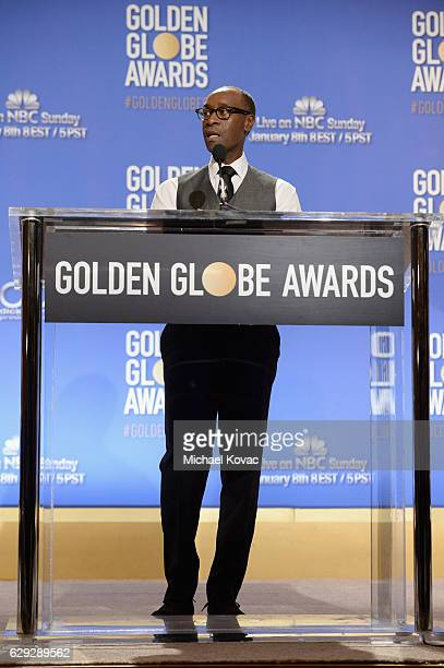Actor Don Cheadle speaks onstage during Moet Chandon toast to the 74th Annual Golden Globe Awards nominations on December 12 2016 in Los Angeles...