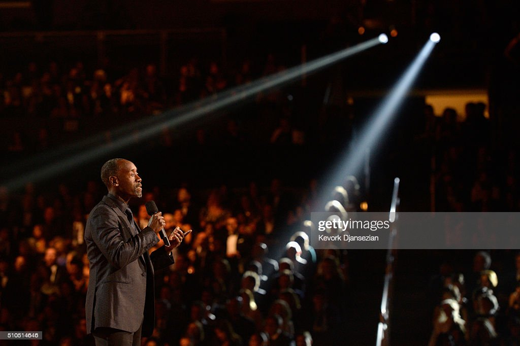 Actor Don Cheadle speaks onstage during The 58th GRAMMY Awards at Staples Center on February 15, 2016 in Los Angeles, California.