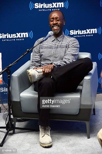 Actor Don Cheadle takes part in SiriusXM's 'Town Hall' with Don Cheadle on SiriusXM's Real Jazz Channel at the SiriusXM studios on March 21 2016 in...