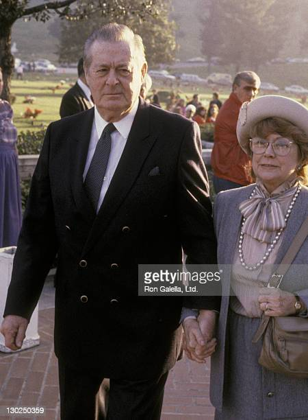 Actor Don DeFore and Marion DeFore attend the memorial service for Rick Nelson on January 6 1986 at Forest Lawn Cemetery in New York City