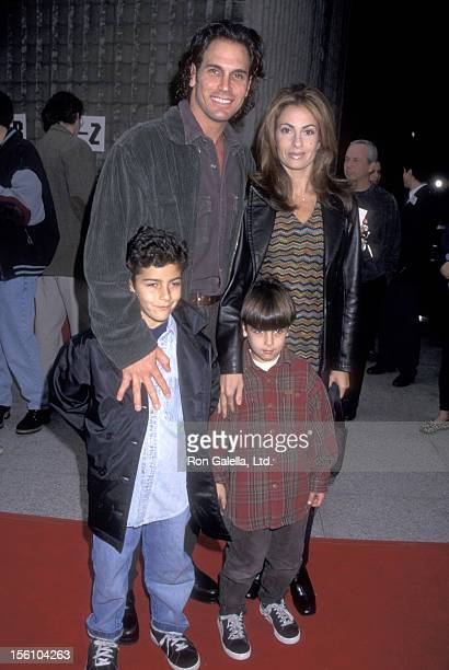 Actor Don Diamont wife Rachel Braun and kids attend the 'Beverly Hills Ninja' Westwood Premiere on January 11 1997 at Avco Center Cinemas in Westwood...