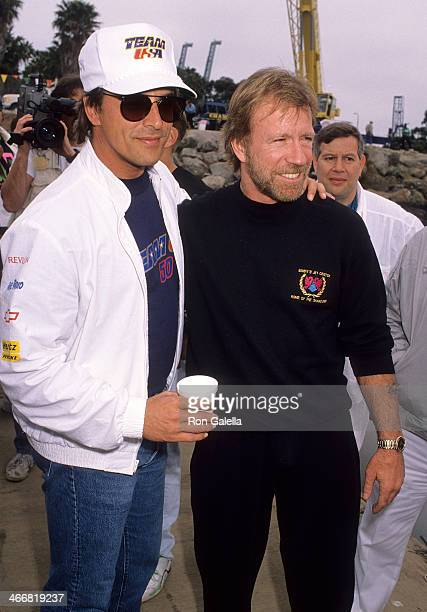 Actor Don Johnson and actor Chuck Norris attend Queen Mary/Catalina Express Offshore Powerboat Races on April 14 1990 at the Catalina Express Docks...