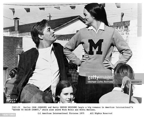 """Actor Don Johnson and actress Devon Ericson on set for the movie """"Return to Macon County"""" in 1975."""