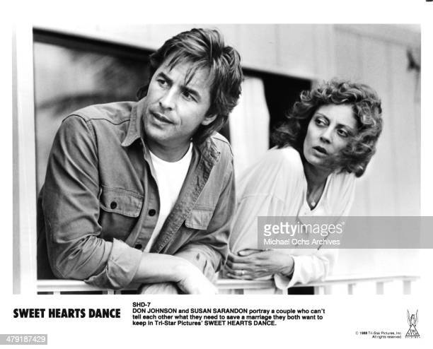 """Actor Don Johnson and actress Susan Sarandon in a scene of the movie """"Sweet Hearts Dance"""" circa 1988."""