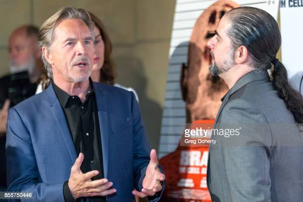 Actor Don Johnson and Director S Craig Zahler arrive for the Premiere Of RLJE Films' 'Brawl In Cell Block 99' at The Egyptian Theatre on September 29...