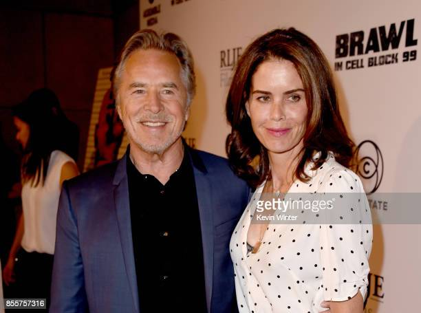 Actor Don Johnson and his wife Kelley Phleger arrive at the premiere of RLJE Films' 'Brawl In Cell Block 99' at the Egyptain Theatre on September 29...