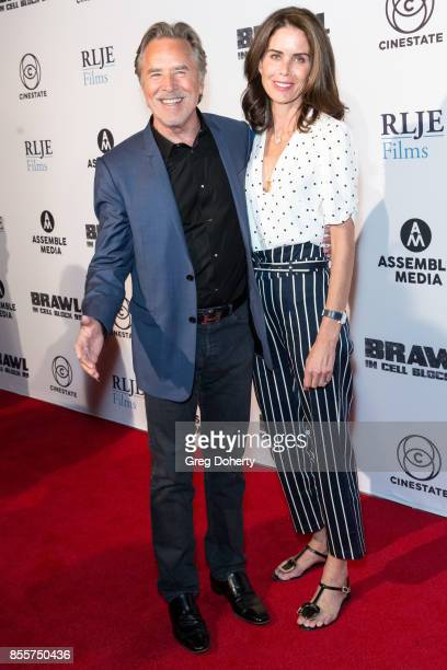 Actor Don Johnson and his wife Kelley Phleger arrive for the Premiere Of RLJE Films' 'Brawl In Cell Block 99' at The Egyptian Theatre on September 29...