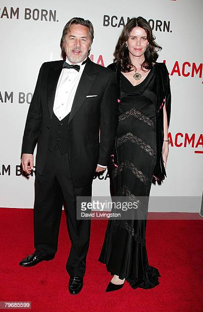 Actor Don Johnson and his wife Kelley Phleger attend the Broad Contemporary Art Museum opening at LACMA on February 9 2008 in Los Angeles California