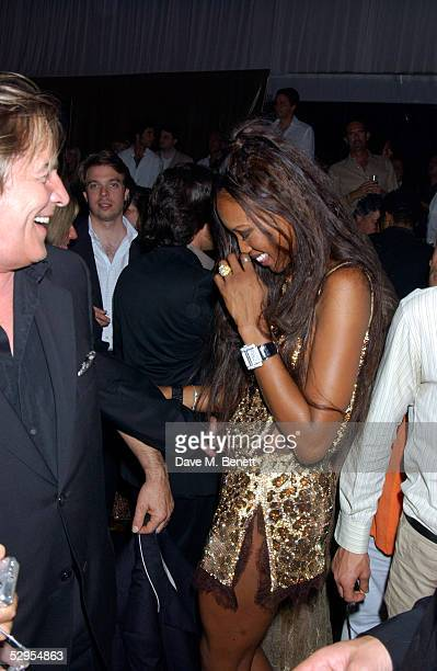 Actor Don Johnson and model Naomi Cambell attends Naomi Campbell's Le Carnival D'Or Party at Palm Beach on May 19, 2005 in Cannes, France. The...