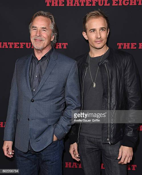 Actor Don Johnson and son Jesse Johnson arrive at the Los Angeles Premiere of 'The Hateful Eight' at ArcLight Cinemas Cinerama Dome on December 7...