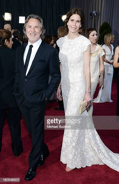 Actor Don Johnson and wife Kelley Phleger arrive at the Oscars at Hollywood Highland Center on February 24 2013 in Hollywood California