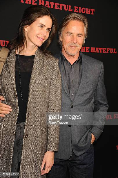 Actor Don Johnson and wife Kelley Phleger arrive at the premiere of The Hateful Eight held at ArcLight Hollywood Cinerama Dome theater in Hollywood