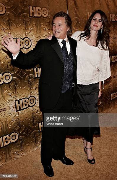 Actor Don Johnson and wife Kelley Phleger arrives at the HBO Golden Globe after party held at the Beverly Hilton on January 16 2006 in Beverly Hills...