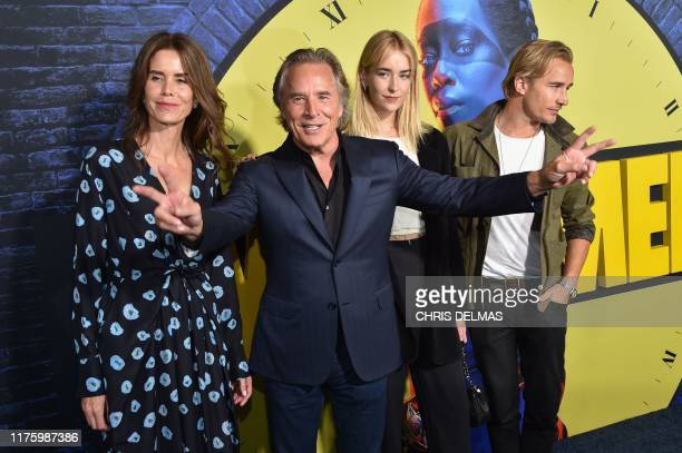 TOPSHOT US actor Don Johnson his wife Kelley Phleger his children Grace and Jesse arrive for the Los Angeles premiere of the new HBO series Watchmen...
