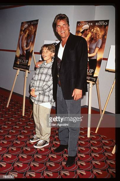 """Actor Don Johnson stands with his son Alexander at the premiere of """"Tin Cup"""" August 6, 1996 in New York City. Kevin Costner was nominated for a 1997..."""