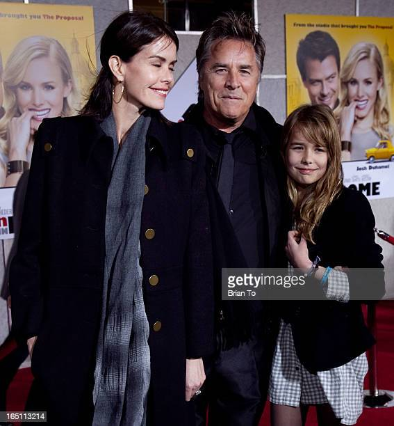 Actor Don Johnson wife Kelley Phleger and daughter Atherton Grace Johnson arrive the world premiere of Touchstone Pictures' 'When in Rome' held at...