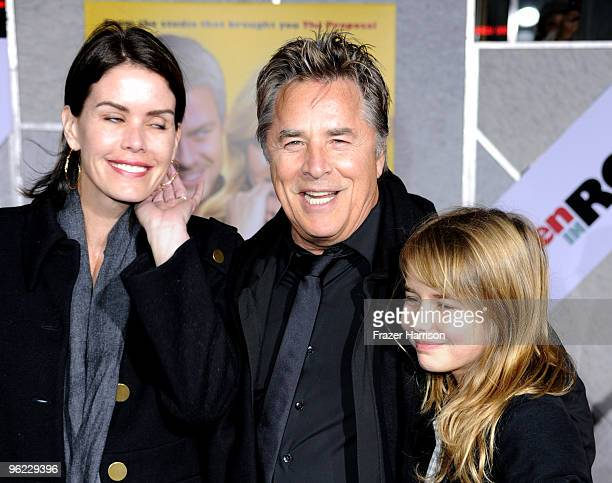 Actor Don Johnson wife Kelley Phleger and daughter Atherton Grace Johnson arrive at the premiere Of Touchstone Pictures' When in Rome at the El...