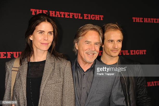 Actor Don Johnson wife Kelley Phleger and son Jesse Johnson arrive at the premiere of 'The Hateful Eight' held at ArcLight Hollywood Cinerama Dome...