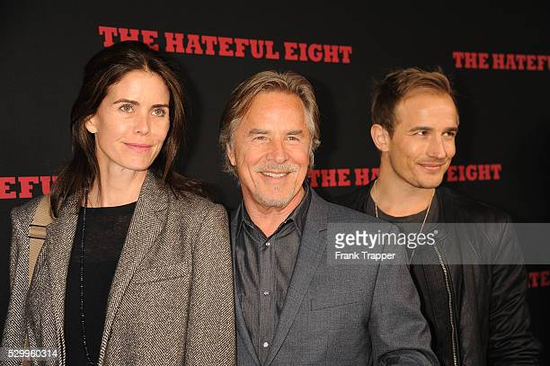 Actor Don Johnson wife Kelley Phleger and son Jesse Johnson arrive at the premiere of The Hateful Eight held at ArcLight Hollywood Cinerama Dome...