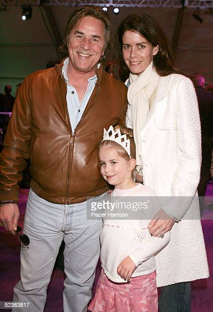 """Actor Don Johnson with daughter Afterton Grace Johnson and wife Kelly Johnson pose at the Walt Disney picture's """"The Ice Princess"""" after party held..."""