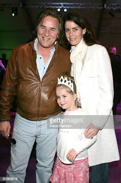 Actor Don Johnson with daughter Afterton Grace Johnson and wife Kelly Johnson pose at the Walt Disney picture's The Ice Princess after party held on...