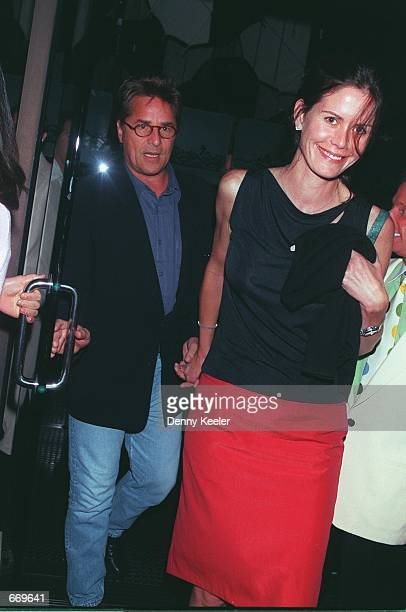 Actor Don Johnson with his wife, Kelley Phleger leave Mr. Chows Restaurant May 28, 2000 in Beverly Hills, CA.
