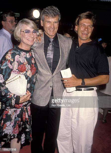 Actor Don Murray wife Bettie Johnson and son Christopher Murray attend the Presumed Innocent Westwood Premiere on July 25 1990 at Mann Bruin Theatre...