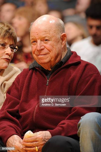 Actor Don Rickles watches a game courtside between the New Orleans Hornets and the Los Angeles Lakers at Staples Center on February 20 2009 in Los...